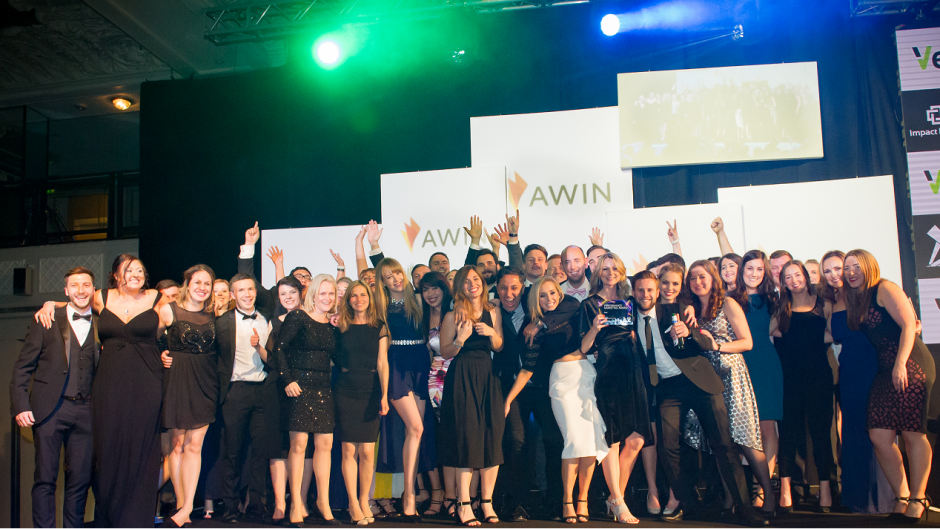 Awin team celebrating award win