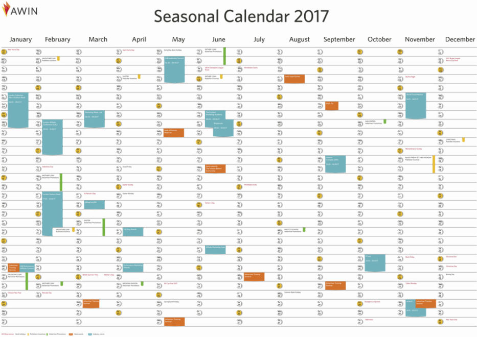 save the dates awin 2017 seasonal calendar