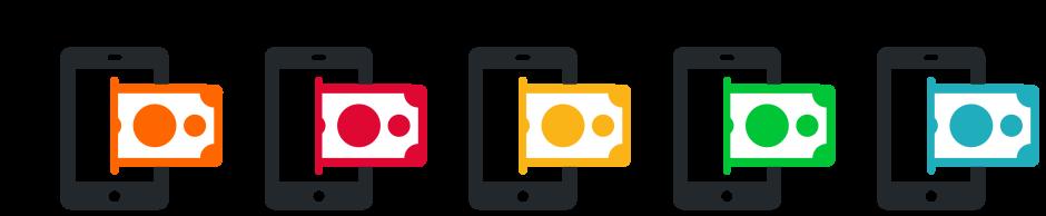 icon smartphone and money