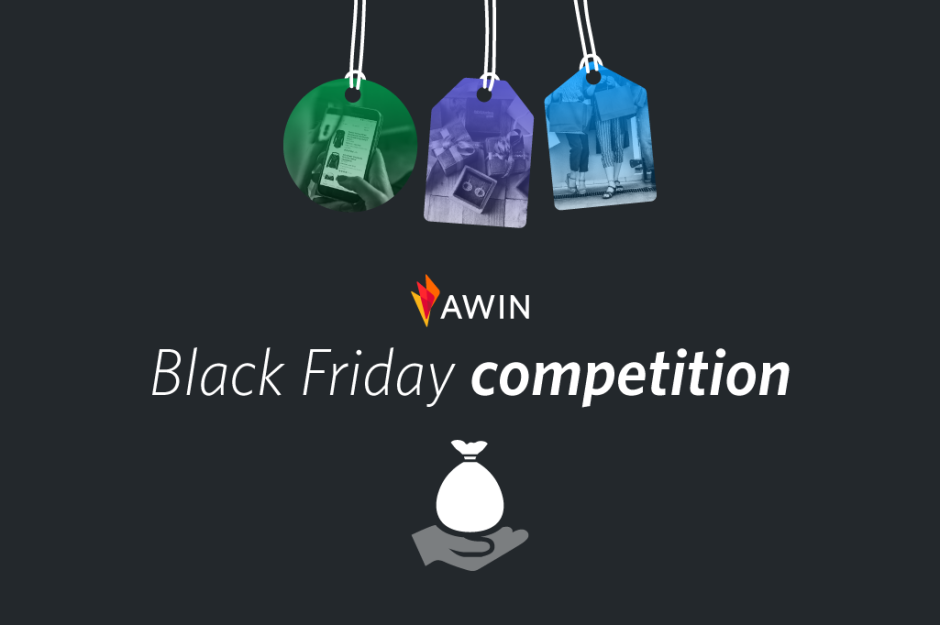 "graphic showing three price tags with pictures inside them, the Awin logo with ""Black Friday sweepstake"" written underneath and an icon of a hand with a bag underneath"