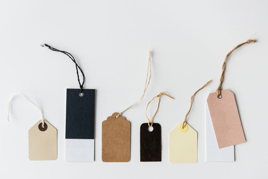 Shopping tags in front of a white background