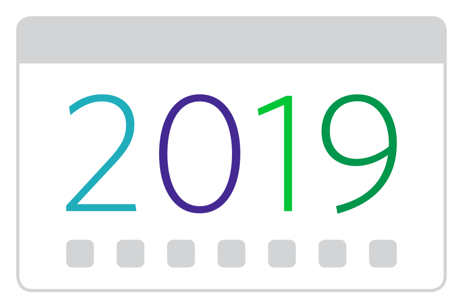 The number '2019' on an icon mimicking a calendar