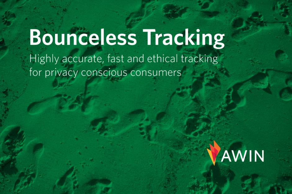 Creatività awin per annunciare il lancio del bounceless tracking