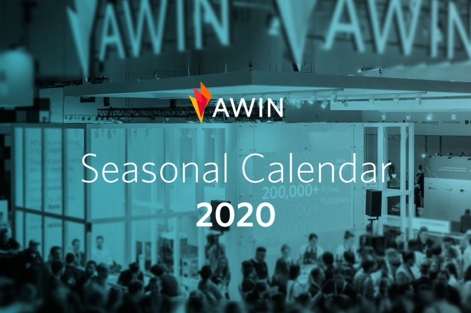 A photo of Awin exhibiting at DMEXCO 2019 with the tagline 'Seasonal Calendar 2020'