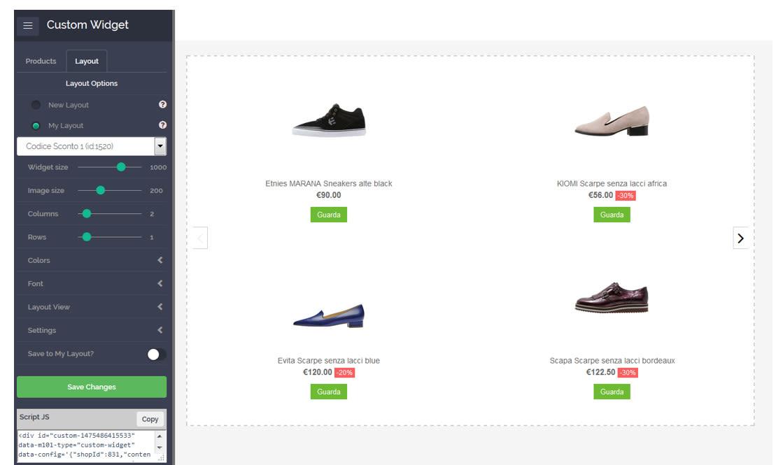Screenshot dal sito con scarpe