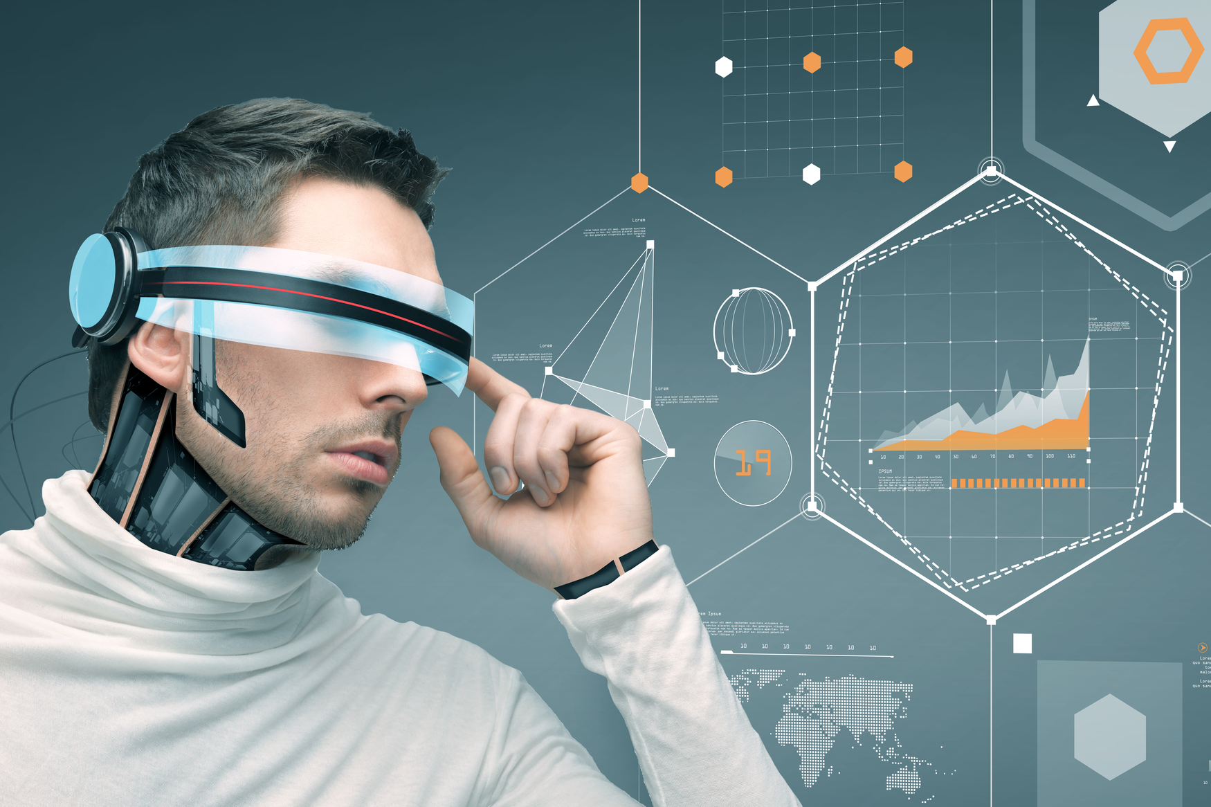 An image of a man using an animiated high-tech headset against a backdrop of graphs, facts and figures connoting sector trends.