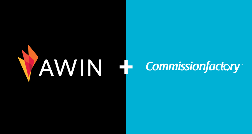 A photo of the Awin logo and the Commission Factory logo joint by a plus sign.