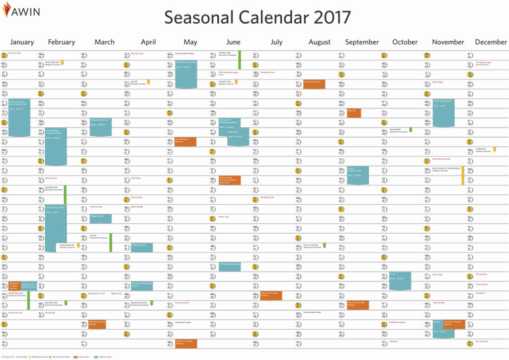 Awin affiliate marketing calendar 2017