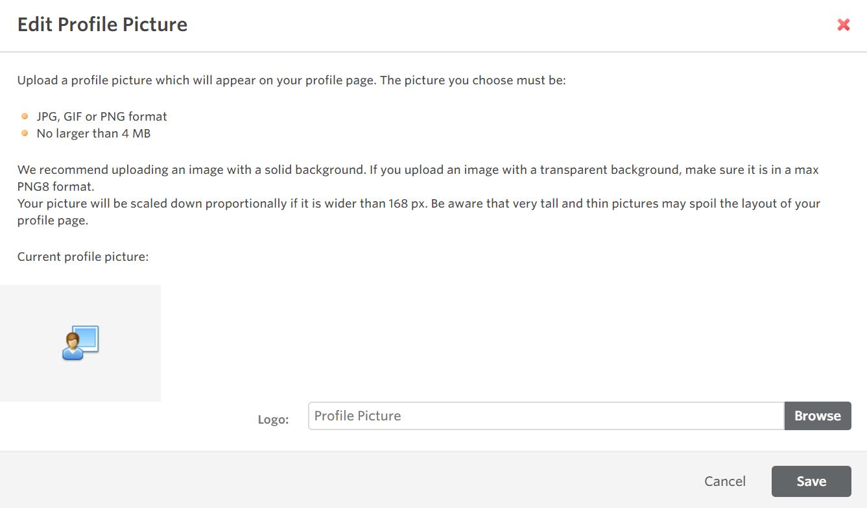 UI edit picture pop up