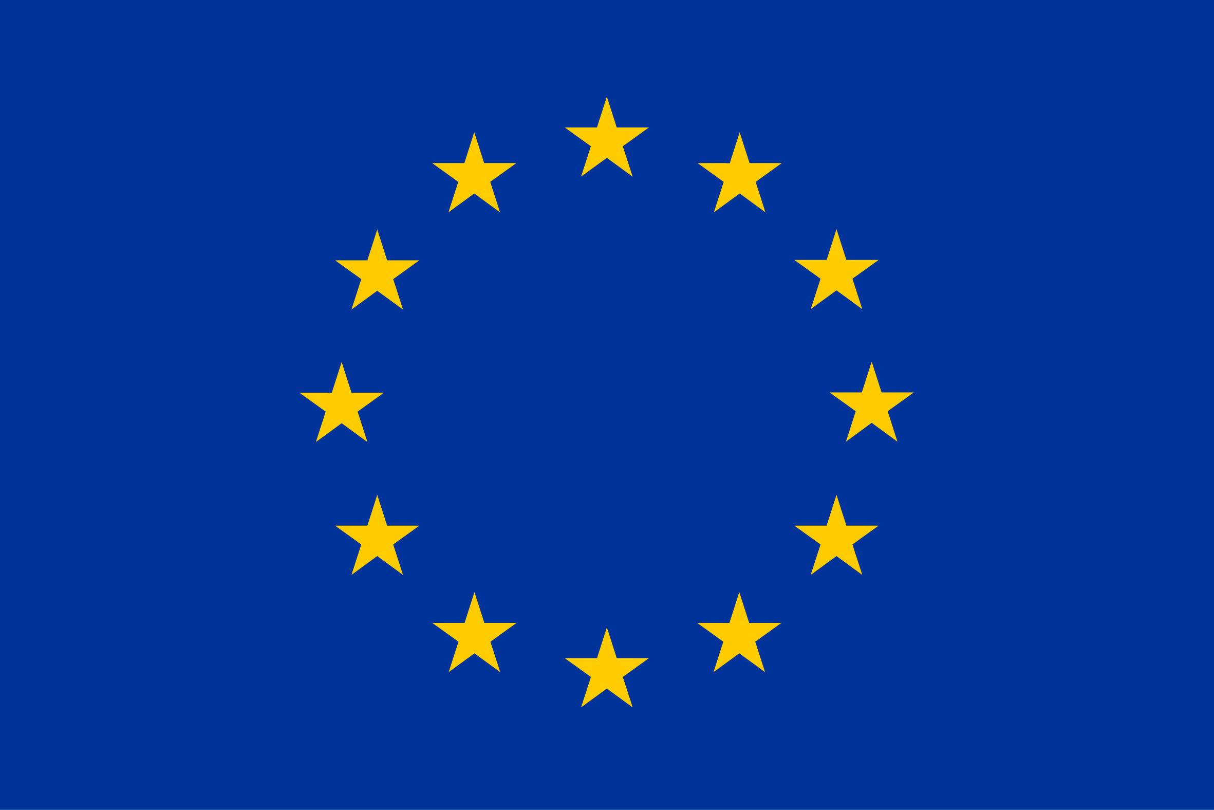 Bandiera con stelle dell'Unione Europea