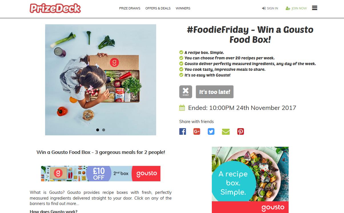 PrizeDeck website Gousto campaign