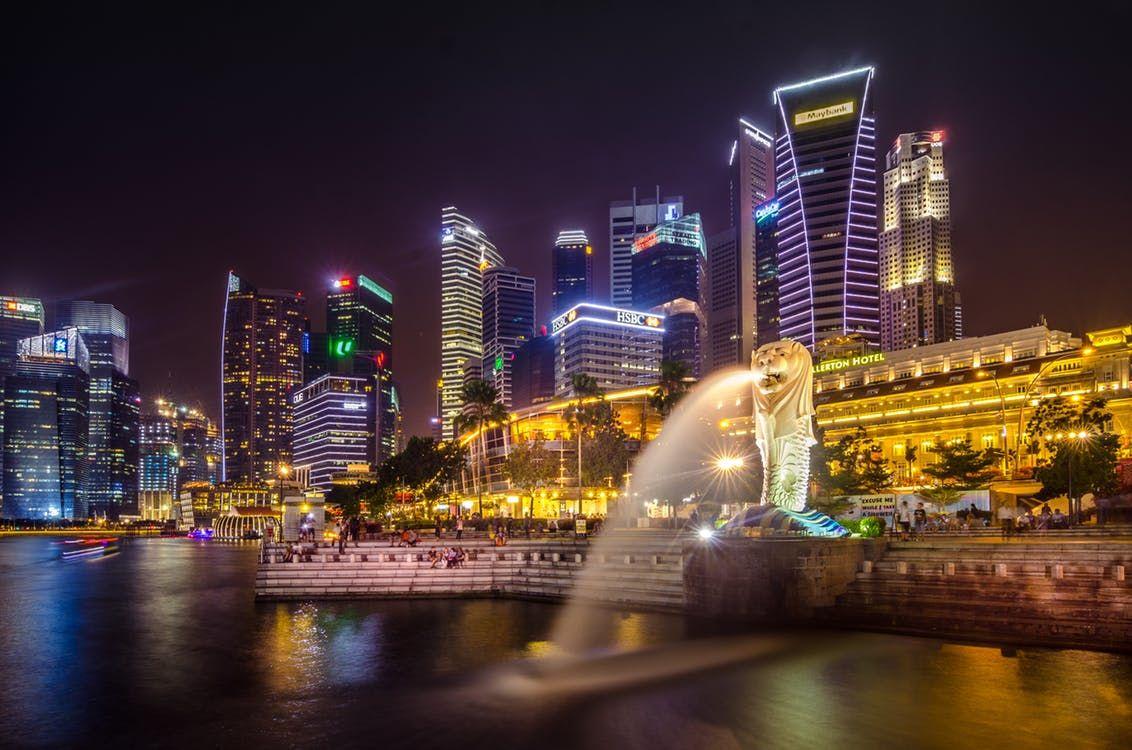 Vista della baia di Singapore