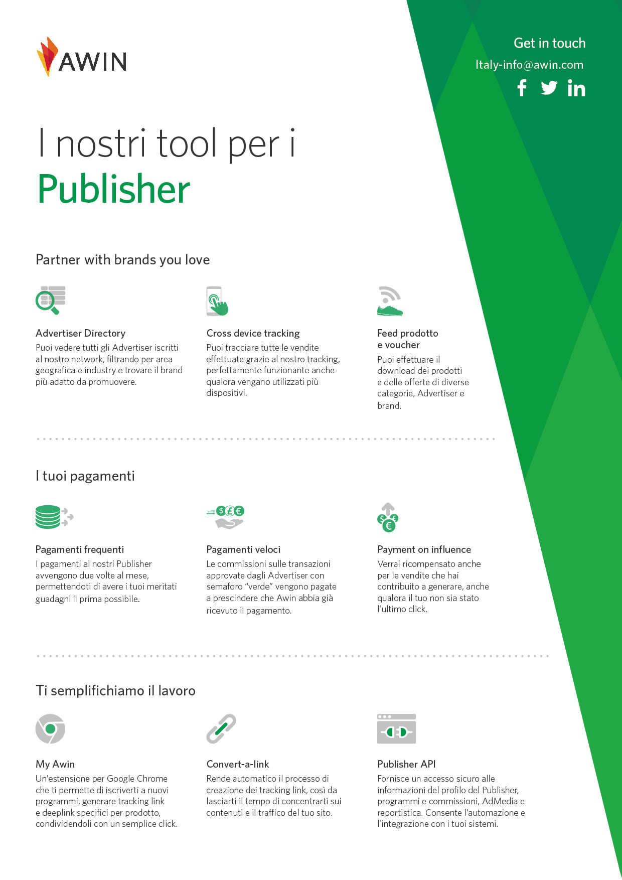 il nostro one pager: tool per i publisher