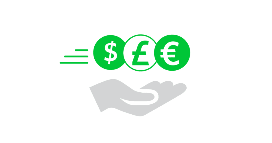 An image of a hand holding three coins with a dollar, pound and euro symbol
