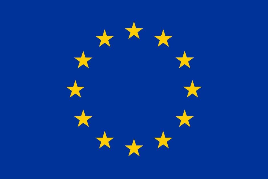 EU Flagge, gelbe Sterne auf blauem Grund
