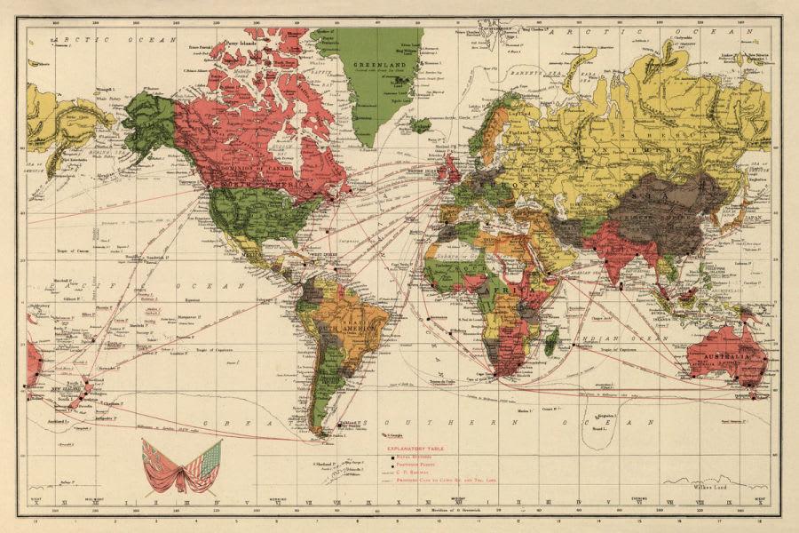 Antica cartina geografica del mondo