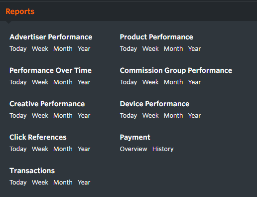 Reports menu Awin interface