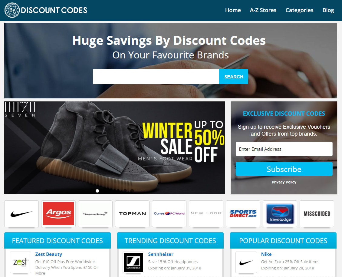 By Discount Codes homepage