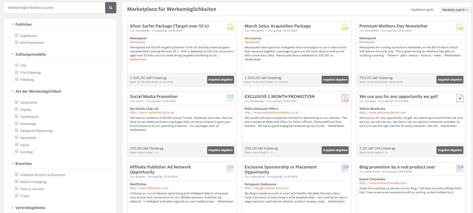 Screenshot vom Opportunity Marketplace