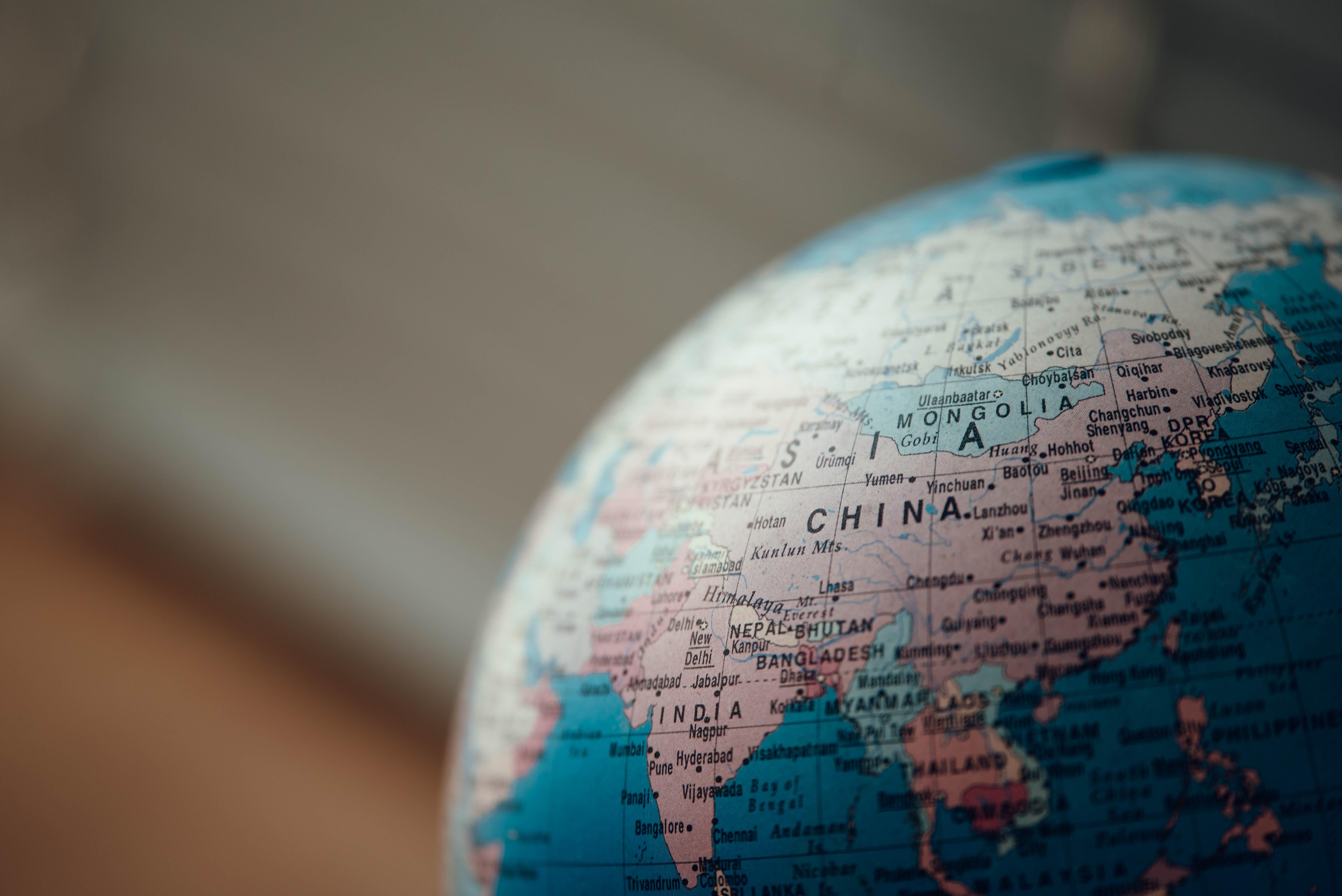 Globus, reingezommt auf China