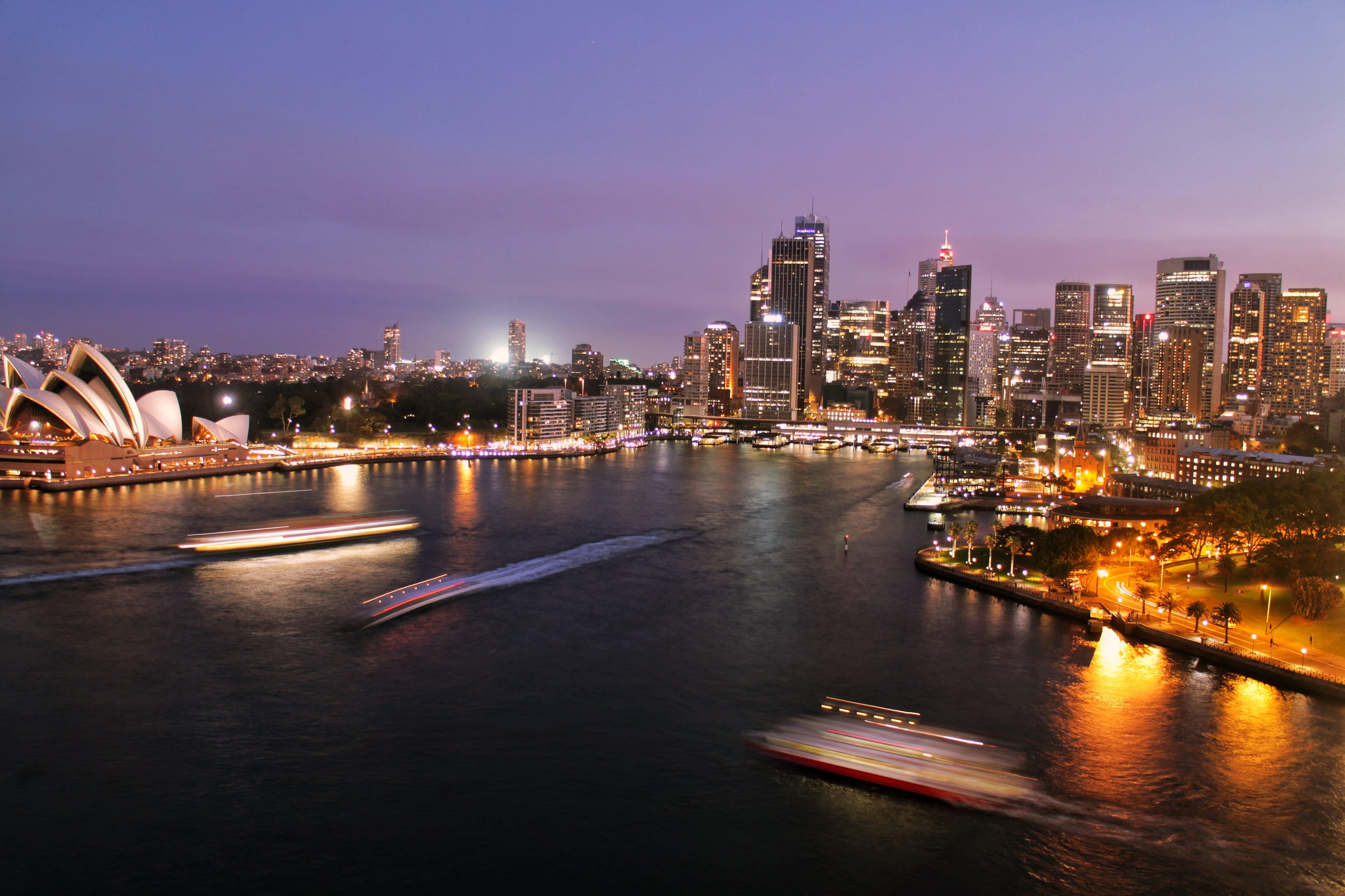 Nighttime view of Sydney, Australia