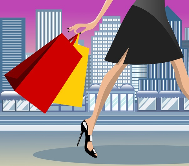 An image of an animated lady walking with shopping bags against a commercial area backdrop.