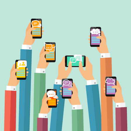 graphic of multiple people on mobile phones