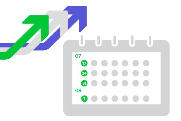 Kalender und Pfeile