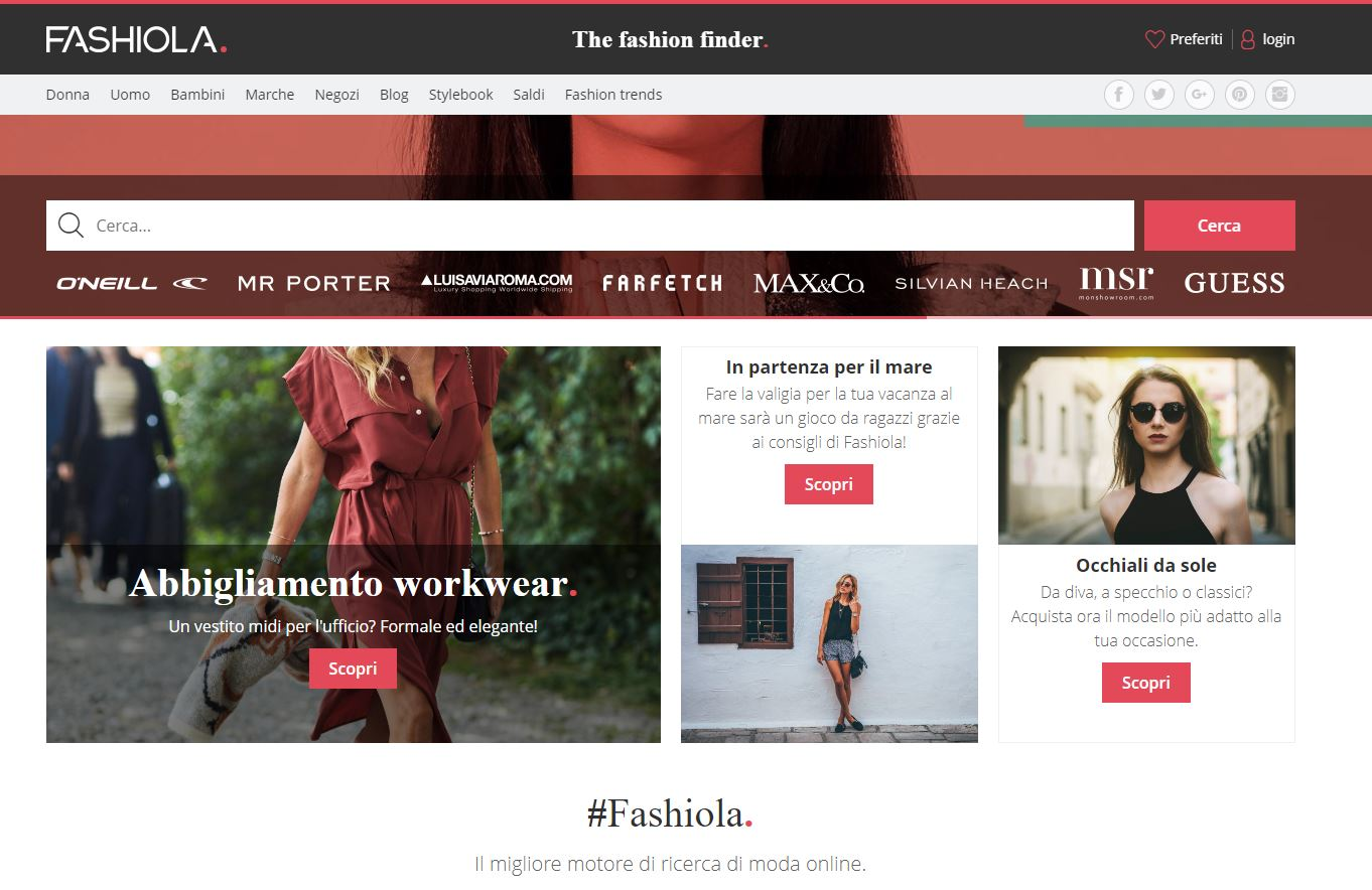 Screenshot sito Fashiola