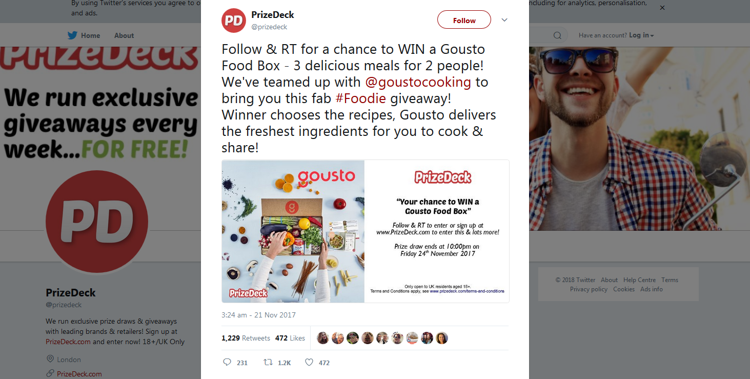 PrizeDeck Tweet Gousto campaign