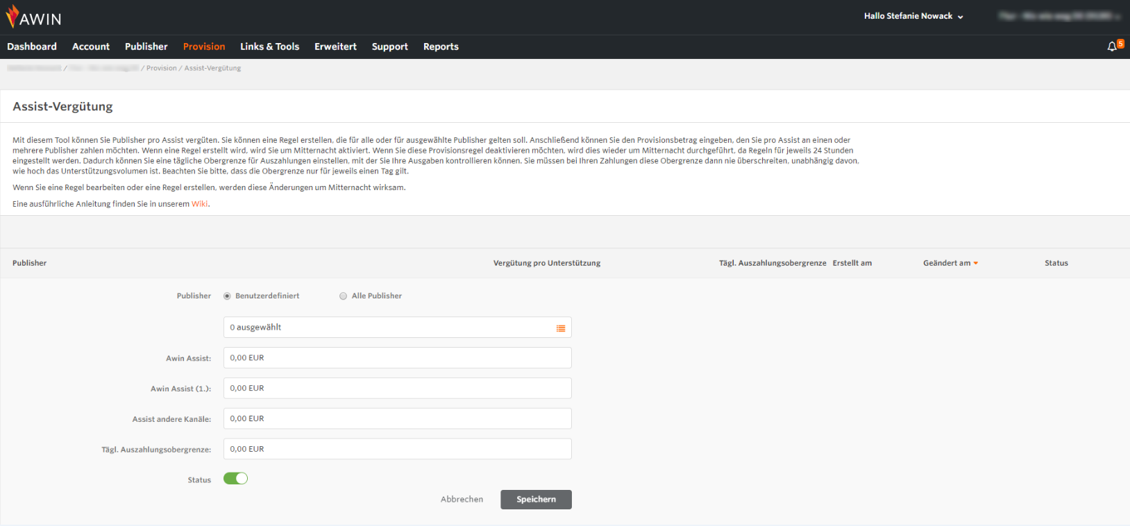 Screenshot von der Assist-Vergütung auf der Awin Plattform